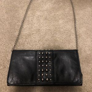Black studded clutch with chain